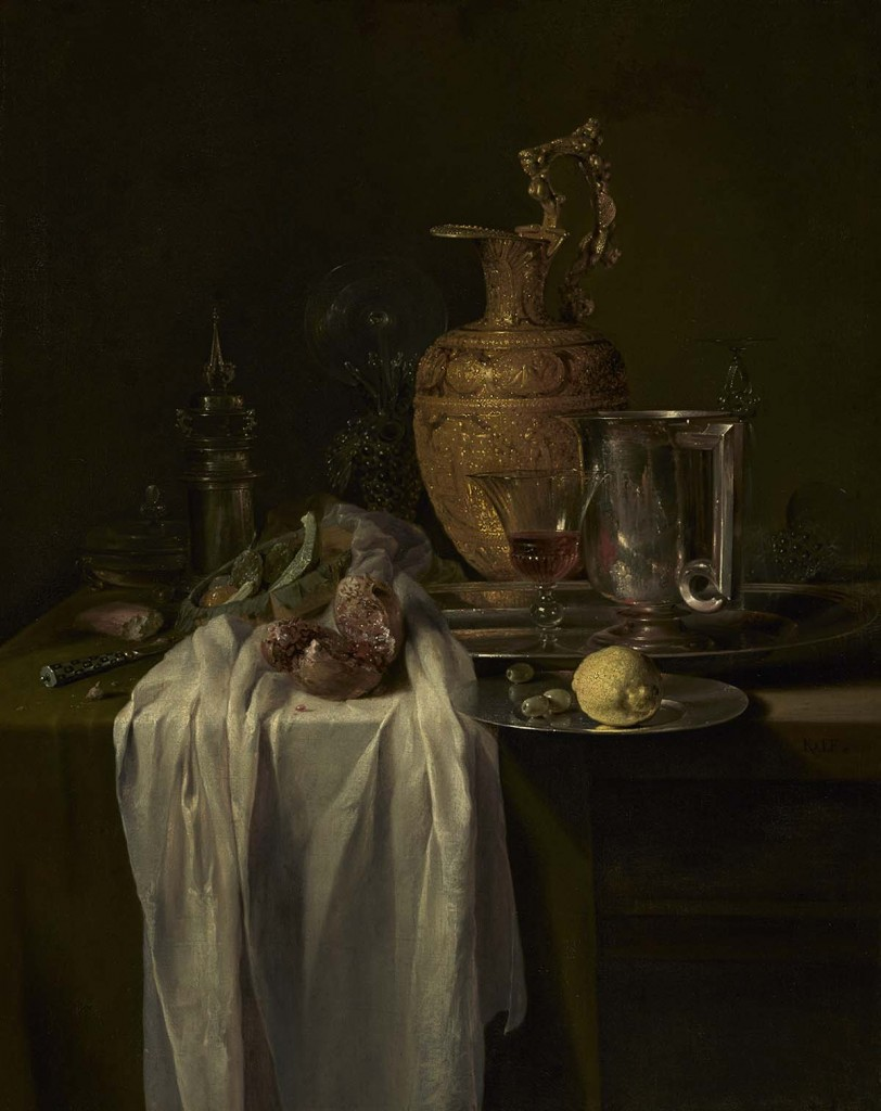 Willem Kalf, Still Life with Ewer, Vessels and Pomegranate, mid-1640s, oil on canvas 104.5 x 80.6 cm, The J. Paul Getty Museum, Los Angeles.