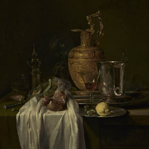 Still Life with Ewer, Vessels and Pomegranate; Willem Kalf (Dutch, 1619 - 1693); mid-1640s; Oil on canvas; 104.5 x 80.6 cm (41 1/8 x 31 3/4 in.); 54.PA.1